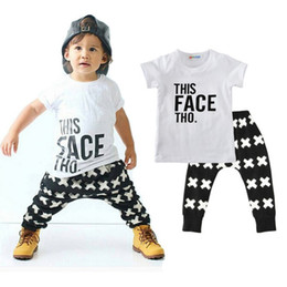 Wholesale girls harem pants sets - Summer baby girls boy toddler casual T-shirt tops + harem pants 2pcs set outfits set 0-5T top quality