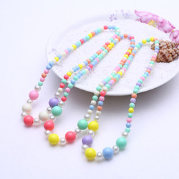 candy bracelet accessories Coupons - Baby Girls Accessories Colorful Pure Color Bead Necklace Jewelry Multi-color Candies Bead Children Necklace Bracelet Set
