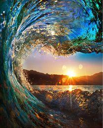 acrílico pintura paisajes marinos Rebajas Kit de pintura de Bricolaje por números con o sin pintura de lienzo marino de Ocean Wave con marco de madera con pinturas acrílicas Pinceles para adultos