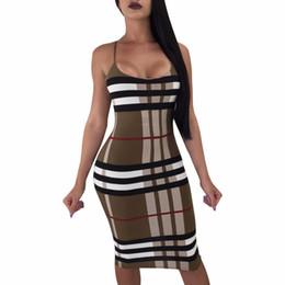 2 color 2018 correa de impresión a cuadros vestidos de estilo de verano de moda mujeres vendaje bodycon casual sexy vestidos midi vestidos 3398 desde fabricantes