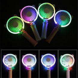 Mini Handheld Fan Cat Estilo Leve Recarregável USB Fan Ventilador De Mesa Portátil LED Colorido Luz Da Noite para Casa de Viagem e Uso de Escritório de