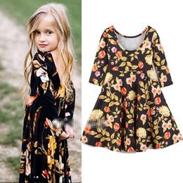 roupas de moda Desconto Menina INS vestido floral 2018 New kids moda princesa Mangas compridas Vestido roupas para bebés idade 2-6years velho B