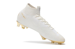 Élite originale en Ligne-Le football blanc d'or cale les crampons mous Mercurial Superfly VI 360 élite FG 100% les chaussures originales de football les chaussures de football de Neymar