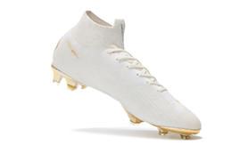 Botas con punta online-Botines de fútbol de oro blanco Soft Spike Mercurial Superfly VI 360 Elite FG Zapatos de fútbol 100% originales Botas de fútbol Neymar
