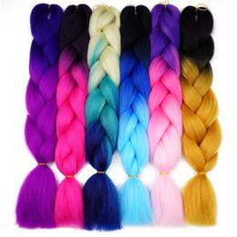 Wholesale Kanekalon Braiding Hair Free Shipping - Free Shipping DIY Box Braid Senegalese Twist Kanekalon Braiding Hair Synthetic Crochet Hair Jumbo Braids Hair Expression