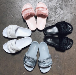 Wholesale Strap Flat Girls - Original Leadcat Fenty Rihanna Shoes Women Slippers Indoor Sandals Girls Fashion Scuffs White Grey Pink Black Slide