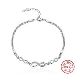 2019 sterling silber armband links Authentische 100% 925 Sterling Silber Endlose Liebe Unendlichkeit Einstellbar Gliederkette Armband Luxus Silber für Frauen037 günstig sterling silber armband links