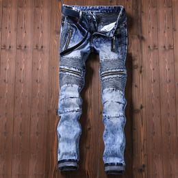Wholesale Patterned Wide Leg Pants - Cross Abroad Trade Man Jeans Tide Brand Locomotive Fold Directly Cuffless Trousers Zipper Male Pants