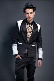 Wholesale Formal Dress Coat For Men - Youth black white splice slim blazer men formal dress latest coat designs suit men costume homme dance stage suits for men's