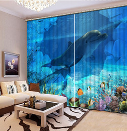 dolphin curtains Coupons - Custom Photo Curtains dolphin Curtains For Children Room Window Curtain underwater world Blackout Hotel Drapes