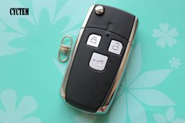 Wholesale Toyota Corolla Key Fob Cover - CYCTEM Uncut Car Key Cover Housing 3 Buttons Modified Flip Folding Remote Key Shell Fob Case Fit For Toyota Corolla Vios