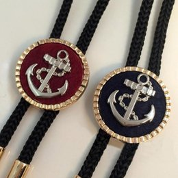 Wholesale mens anchor necklaces - Mens fashion ship's anchor Navy style bolo tie Personality cowboy casual necklace Business Shirt Accessories Gift for friend