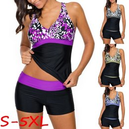Wholesale Fashion Tankini Swimwear - Women's Fashion Print Sexy V-neck Two Pieces Tankini Top with Swim Shorts Set Swimsuits Swimwear S-5XL