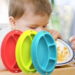Wholesale Solid Round Table - Baby Tableware Feeding Plate Smiling-face-model Rounded Silicone Child Plate Baby Adsorption Anti-slip Table Mats for Kids