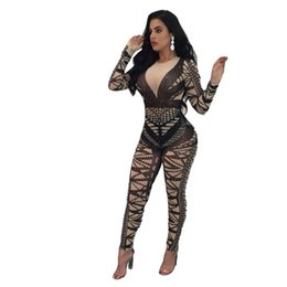 Wholesale Womens Long Sleeve Romper - Geometric Print Casual Long Sleeve Jumpsuit Womens Romper 2018 Spring Autumn Slim Party Overalls Fitted Stretchy Club Playsuits