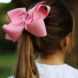 Wholesale Handmade Hairbows - 6 Inch 2 Pieces Set Girls' Grosgrain Rib Hair Bows with Clips Kids' Hairbows Solid Bow Children' Hairclips Handmade Hairbow