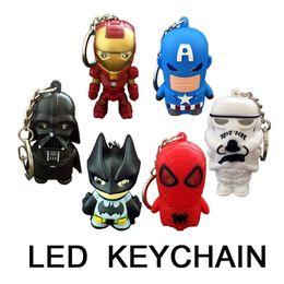 Wholesale iron keyring - Iron man Art deco Marvel keychain with flashlight Keyrings Key Chains Sport Mini led flashlights wholesale keychain key ring