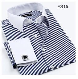 striped shirt long sleeve Australia - Wholesale- Striped Twill Shirt Men French Cuff Long Sleeve Mens Dress Shirts Slim Fit Business 2016 Spring New Male Blouse Plus Size