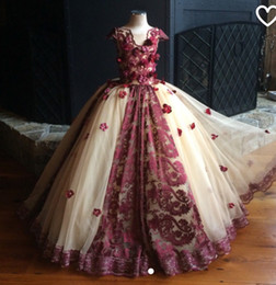 Wholesale Champagne Colored Wedding Dresses - Wine Colored And Cream dress 3 D Flower Puffy Kids Pageant Dress First Communion Dresses For Girls Lace Flower Girl Dress