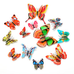 Wholesale Double Switch - Fansy 12pcs lot Double Layers Wings Butterflies 3D Cinderella Butterfly Decoration with Magnet Removable Wall Stickers