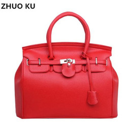 red hand bag for girls Promo Codes - Hot Sale Vintage Celebrity Girl Faux PU Leather Tote Hand Bags for women fashion designer bolsos shoulder bag Woman Handbag