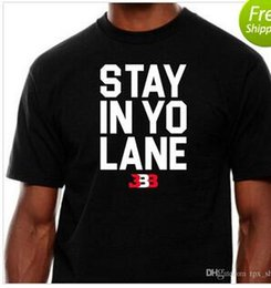 Wholesale free ball gowns - Free shipping Stay in yo lane t shirt Lonzo Ball short sleeve gown Basketball BBB sport tees Leisure unisex clothing Quality cotton Tshirt