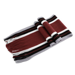 Wholesale male cashmere scarf - Men's Striped Faux Cashmere 's Scarf With Tassels Fashion All-match Style Men Business Scarf Echarpe 2018 male