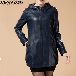 Wholesale Ladies Leather Hooded Jackets - Wholesale- Plus Size L-6XL Women Leather Jacket New Long Leather Coat Ladies Leather Clothing 2017 Autumn Winter Jackets And Coats Blue