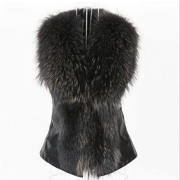 casaco do motociclista do colar da pele do falso Desconto Grande gola de pele de guaxinim do falso jaqueta de couro pu mulheres moda motocicleta casaco curto do falso jaqueta de couro do motociclista feminino macio
