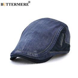 BUTTERMERE Boinas de algodón Hombres Azul Casual Driving Duckbill Hat Male  Vintage Patchwork Retro Británico Otoño Clásico Ivy Cabbie Cap 6d58ea1dfc1