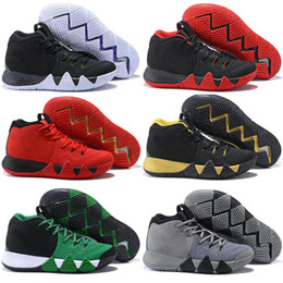 Wholesale Basket Ball Shoes Cheap - 2018 New Kyrie Irving 4 Basketball Shoes for Cheap Sale Sneakers Sports Mens Shoe Wolf Grey Team Red Outdoor Trainers Basket Ball Boots