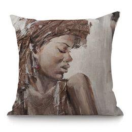 Werfen Kissen 45X45 Hohe Qualität Kreative Afrikanische Frau Home Decor Cojines Sitzkissen Almofadas Baumwolle Leinen Kissen von Fabrikanten