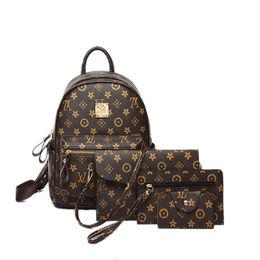 рюкзак из коричневого pu кожи Скидка Старинные печати женщин письмо дизайн коричневый цвет рюкзаки по набору кожа Pu мягкий двойной плечо Bgas для матери