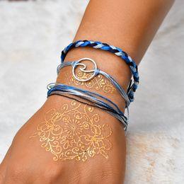 2019 j pulseiras L J Charme Do Vintage Pulseiras Para As Mulheres Moda Azul Handmade Pulseira De Tecido Jóias 3 Pçs / set Pulseras Mujer j pulseiras barato
