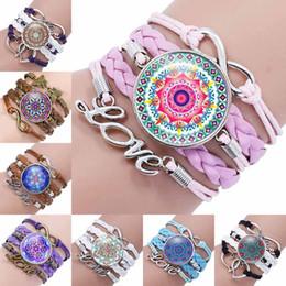 Wholesale Flower Girl Jewelry - Fashion mandala flower Glass Cabochon Infinity Love Leather Bracelet For Girls Women time gemstone Accessories Jewelry Gift 320053