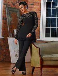Elegante abito da sposa in pizzo nero madreperlaceo sposo abiti nuovi collo gioiello appliques madre pantaloni formali indossa maniche lunghe abiti formali da