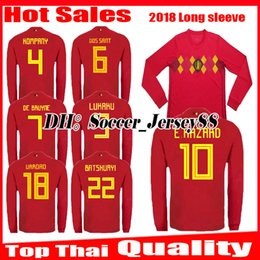 e175b65c0 2018 2019 world cup Belgium Long sleeve Soccer Jersey 18 19 LUKAKU FELLAINI  E.HAZARD KOMPANY DE BRUYNE football uniforms jerseys shirt