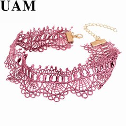 Wholesale necklaces crochet - UAM Crochet Black Pink Lace Choker Necklace Personality Women Collar Jewelry Vintage Collares Necklace for Party Gift