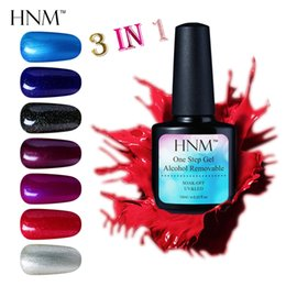 Wholesale One Step Nail Polish - HNM One Step Gel 10ML Nail Lacquer Polish 3 in 1 Soak Off UV Gel Nail Polish Primer Nagellak Gelpolish Base Top Varnish Gellak