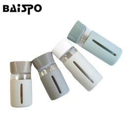 Wholesale Mini Drinking Glasses - BAISPO 300 ml   430 ml Simple Fashion Personality Portable Sports High Temperature Glass Water Bottle Mini Vacuum Bottle Square