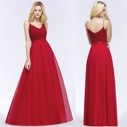 f5f375feff6 beaded spaghetti strap chiffon wedding dresses Coupons - Red Pearl Bridesmaid  Dresses 2018 Sexy V-