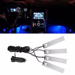 Wholesale blue interior light strip - 1 Set 4 In 1 Car Auto Interior Charge LED Atmosphere Light Decoration Lamp Car Styling Foot Lamp Blue light Auto Accessories