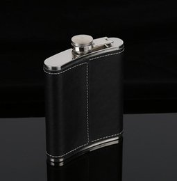 Wholesale leather wine flask - Hip Flask Stainless Steel Flagon Wine Pot Outdoor Portable PU Leather Cover Hip Flasks Bottle Baby Feeding GGA663 40PCS