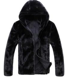 Wholesale Mink Overcoat - 2016 Men Winter coat high imitation mink coat men zipper fur overcoat winter hooded jacket