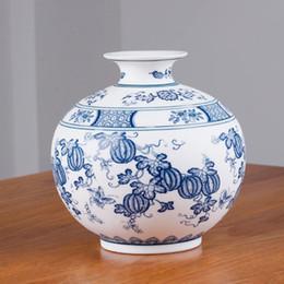 Vase bleu chinois en Ligne-Style chinois Jingdezhen Classique Bleu Et Blanc En Porcelaine Kaolin Fleur Vase Décor À La Maison À La Main Vases