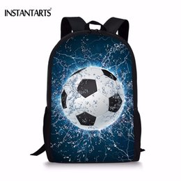 ball red book Australia - INSTANTARTS Cool 3D Ice Soccerly Ball Print School Bag for Teenager Boys Casual Book Shoulder Bags Children Book Bags Backpack S914