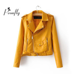 Wholesale Motorcycle Detailing - NEW Autumn and winter 2016 Women Mustard Short Faux Leather Motorcycle Cropped Biker jackets Hem belted Zips details Epaulets