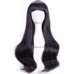 perucas de cabelo preto longo dia das bruxas Desconto Preto Ondulado Peruca Fei-Show Sintética Resistente Ao Calor 26