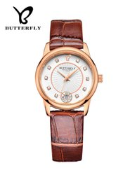 Relógio rosa borboleta em couro dourado on-line-Relógio de borboleta, pulseira de couro real de ouro rosa, broca de diamante de tendência de moda feminina, movimento de importação de relógio de quartzo.