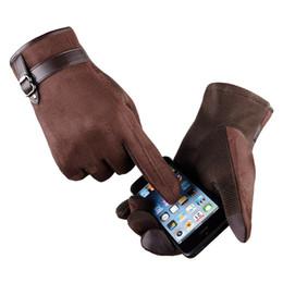 Wholesale Long Waterproof Gloves - 2017 Winter Warm Fleece Mens Sude Leather Gloves For Touchscreen Waterproof Long Hand Gloves Heated Touch Mittens Guantes Hombre